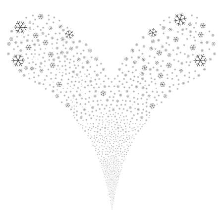 Snowflake salute stream. Raster illustration style is flat gray iconic snowflake symbols on a white background. Object fountain combined from random design elements. Stock Illustration - 80119814
