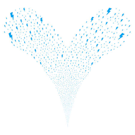 Electric Strike explosive stream. Vector illustration style is flat blue iconic electric strike symbols on a white background. Object fountain created from random symbols. Illustration