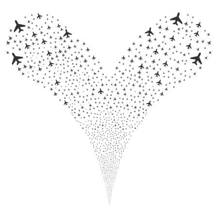 pyrotechnic: Air Plane source stream. Vector illustration style is flat gray iconic air plane symbols on a white background. Object fountain done from random design elements. Illustration
