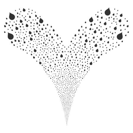 Drop explosive stream. Vector illustration style is flat gray iconic drop symbols on a white background. Object fountain combined from random icons.