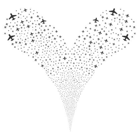 pyrotechnic: Airplane source stream. Vector illustration style is flat gray iconic airplane symbols on a white background. Object fountain created from random design elements.
