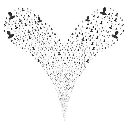 Person fireworks stream. Vector illustration style is flat gray iconic person symbols on a white background. Object fountain combined from random pictograms.