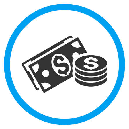 Dollar Cash rounded icon. Raster illustration style is a flat iconic symbol inside a circle, color, transparent background. Designed for web and software interfaces. Stock Photo