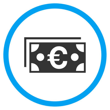 billets euros: Euro Banknotes rounded icon. Raster illustration style is a flat iconic symbol inside a circle, color, transparent background. Designed for web and software interfaces.