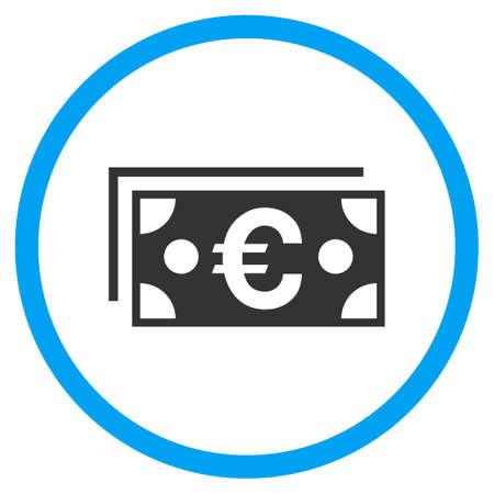 salarios: Icono redondeado de billetes en euros. Estilo de ilustración de trama es un símbolo plano icónico dentro de un círculo, color, fondo transparente. Diseñado para interfaces web y de software. Foto de archivo