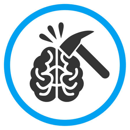 sabotage: Brain Impact rounded icon. Raster illustration style is a flat iconic symbol inside a circle, color, transparent background. Designed for web and software interfaces.