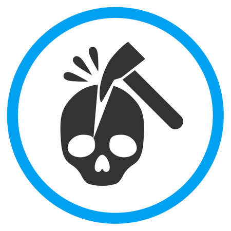 eliminate: Break Skull rounded icon. Raster illustration style is a flat iconic symbol inside a circle, color, transparent background. Designed for web and software interfaces. Stock Photo