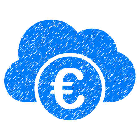 corrosion: Grunge Euro Cloud Banking icon with grunge design and dirty texture. Unclean vector blue pictogram for rubber seal stamp imitations and watermarks. Draft emblem symbol.