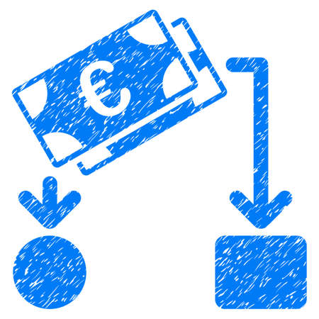 Grunge Euro Cash Flow icon with grunge design and dirty texture. Unclean vector blue pictogram for rubber seal stamp imitations and watermarks. Draft sign symbol.