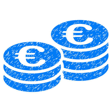 Grunge Euro Coins icon with grunge design and dirty texture. Unclean vector blue pictogram for rubber seal stamp imitations and watermarks. Draft emblem symbol.