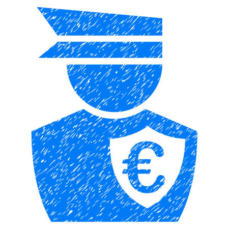 Grunge Euro Commissioner icon with grunge design and unclean texture. Unclean vector blue pictogram for rubber seal stamp imitations and watermarks. Draft sign symbol.