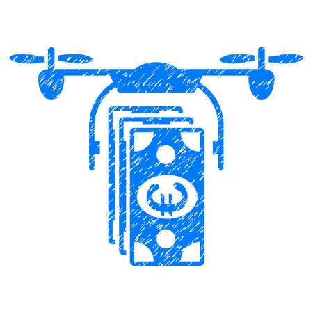 Grunge Euro Drone Banking icon with grunge design and dust texture. Unclean vector blue pictogram for rubber seal stamp imitations and watermarks. Draft sticker symbol. Векторная Иллюстрация