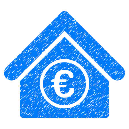 Grunge Euro Financial Center icon with grunge design and dirty texture. Unclean vector blue pictogram for rubber seal stamp imitations and watermarks. Draft sticker symbol.