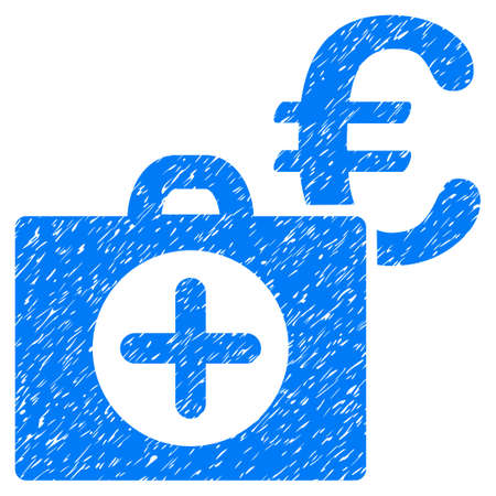 Grunge Euro Medical Payment icon with grunge design and unclean texture. Unclean vector blue pictogram for rubber seal stamp imitations and watermarks. Draft sign symbol. Illustration