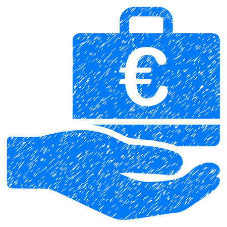 Grunge Euro Accounting Service icon with grunge design and unclean texture. Unclean vector blue pictogram for rubber seal stamp imitations and watermarks. Draft sign symbol. Illustration