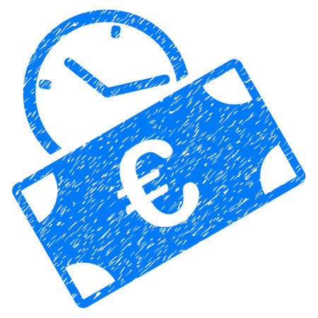 Grunge Euro Recurring Payment icon with grunge design and unclean texture. Unclean vector blue pictogram for rubber seal stamp imitations and watermarks. Draft emblem symbol. Çizim