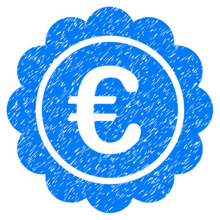 unclean: Grunge Euro Reward Seal icon with grunge design and scratched texture. Unclean vector blue pictogram for rubber seal stamp imitations and watermarks. Draft sticker symbol. Illustration
