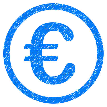 corrosion: Grunge Euro Coin icon with grunge design and unclean texture. Unclean raster blue pictogram for rubber seal stamp imitations and watermarks. Draft sticker symbol.