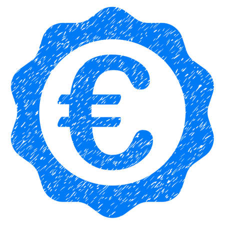 corrosion: Grunge Euro Award Seal icon with grunge design and dust texture. Unclean raster blue pictogram for rubber seal stamp imitations and watermarks. Draft sign symbol.