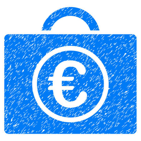 Grunge Euro Baggage icon with grunge design and unclean texture. Unclean raster blue pictogram for rubber seal stamp imitations and watermarks. Draft sticker symbol.