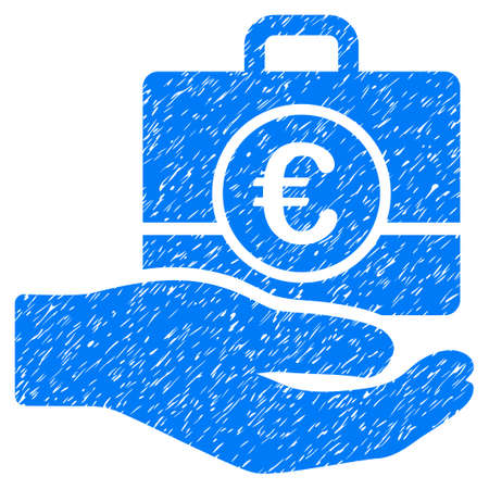 Grunge Euro Banking Service icon with grunge design and dirty texture. Unclean raster blue pictogram for rubber seal stamp imitations and watermarks. Draft sign symbol. Stock Photo
