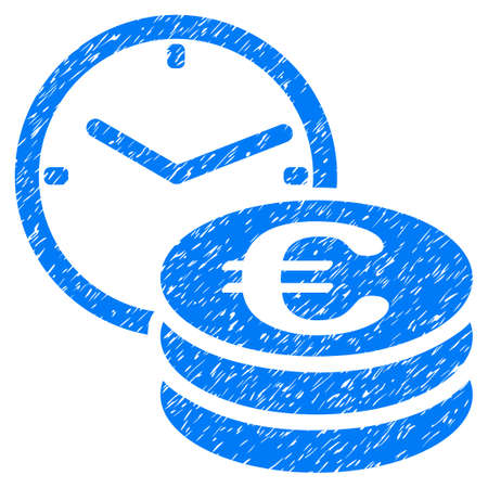 Grunge Euro Credit icon with grunge design and dirty texture. Unclean raster blue pictogram for rubber seal stamp imitations and watermarks. Draft sign symbol.
