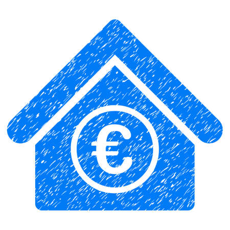 Grunge Euro Financial Center icon with grunge design and dirty texture. Unclean raster blue pictogram for rubber seal stamp imitations and watermarks. Draft emblem symbol. Stock Photo