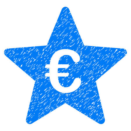 Grunge Euro Hit Parade Star icon with grunge design and scratched texture. Unclean raster blue pictogram for rubber seal stamp imitations and watermarks. Draft sign symbol. Stock Photo
