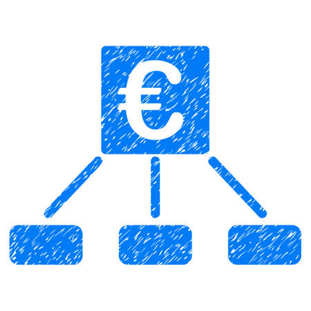Grunge Euro Money Payment icon with grunge design and unclean texture. Unclean raster blue pictogram for rubber seal stamp imitations and watermarks. Draft emblem symbol. Stock Photo