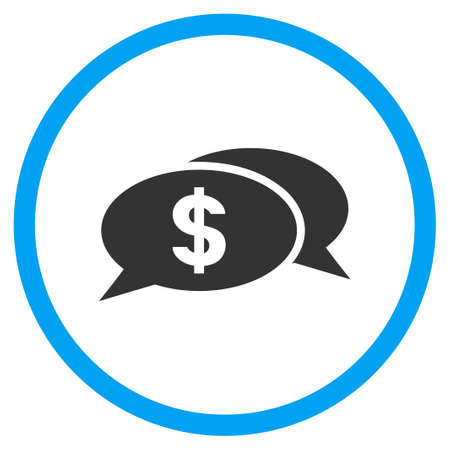 Dollar Chat rounded icon. Vector illustration style is a flat iconic symbol inside a circle, color, transparent background. Designed for web and software interfaces.
