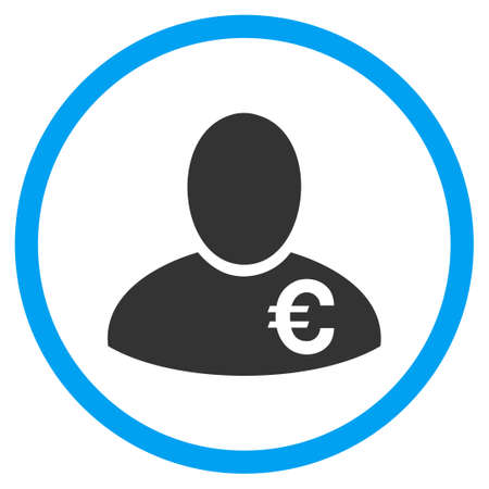 wages: Euro Financier rounded icon. Vector illustration style is a flat iconic symbol inside a circle, color, transparent background. Designed for web and software interfaces. Illustration