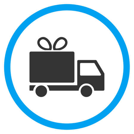 warehouse: Gift Delivery rounded icon. Vector illustration style is a flat iconic symbol inside a circle, color, transparent background. Designed for web and software interfaces.