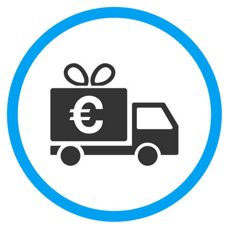 warehouse: Euro Gift Delivery rounded icon. Vector illustration style is a flat iconic symbol inside a circle, color, transparent background. Designed for web and software interfaces. Illustration