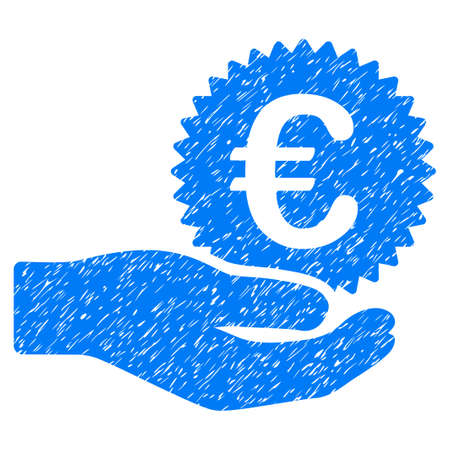 corrosion: Grunge Euro Prize Offer icon with grunge design and dirty texture. Unclean raster blue pictogram for rubber seal stamp imitations and watermarks. Draft sticker symbol. Stock Photo