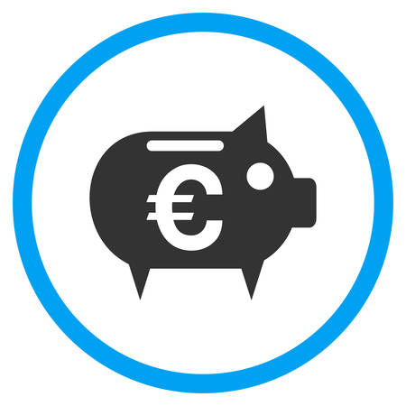 Euro Piggy Bank rounded icon. Vector illustration style is a flat iconic symbol inside a circle, color, transparent background. Designed for web and software interfaces.