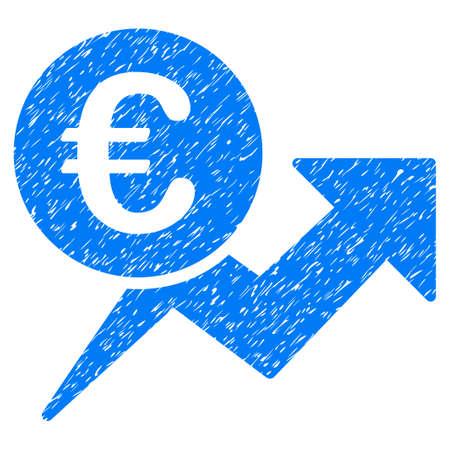 Grunge Euro Sales Growth icon with grunge design and unclean texture. Unclean raster blue pictogram for rubber seal stamp imitations and watermarks. Draft emblem symbol.