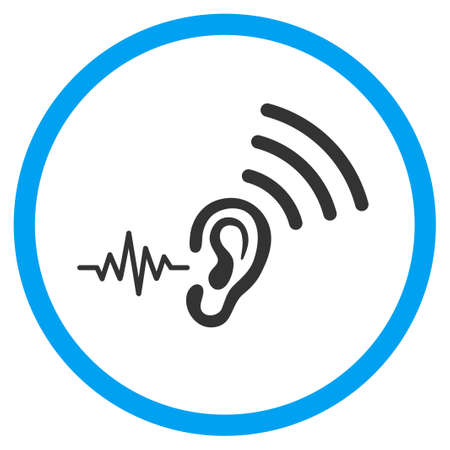 Listen And Transmit rounded icon. Vector illustration style is a flat iconic symbol inside a circle, color, transparent background. Designed for web and software interfaces. Banco de Imagens - 80442577