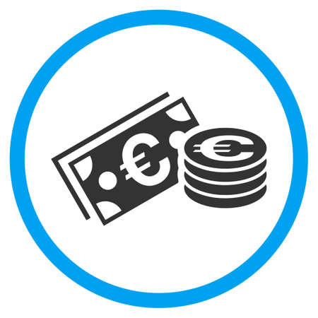Euro Cash rounded icon. Vector illustration style is a flat iconic symbol inside a circle, color, transparent background. Designed for web and software interfaces.