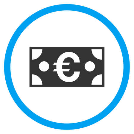 Euro Banknote rounded icon. Vector illustration style is a flat iconic symbol inside a circle, color, transparent background. Designed for web and software interfaces.