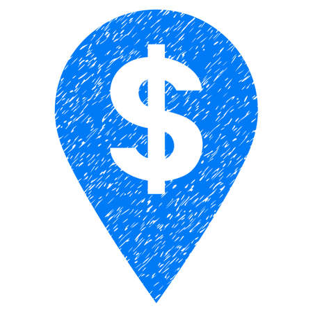 financial position: Grunge Dollar Map Marker icon with grunge design and scratched texture. Unclean vector blue pictogram for rubber seal stamp imitations and watermarks. Draft sticker symbol. Illustration