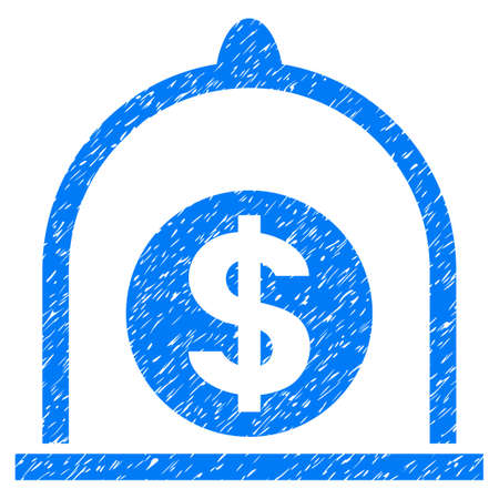 Grunge Dollar Standard icon with grunge design and dust texture. Unclean vector blue pictogram for rubber seal stamp imitations and watermarks. Draft emblem symbol. Illustration
