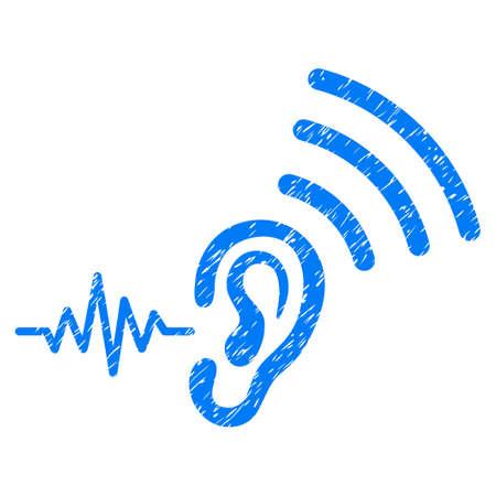 Grunge Luister en verzend pictogram met grungeontwerp en vuile textuur. Unclean vector blauwe pictogram voor rubberen afdichting stempel imitaties en watermerken. Conceptsticker symbool.