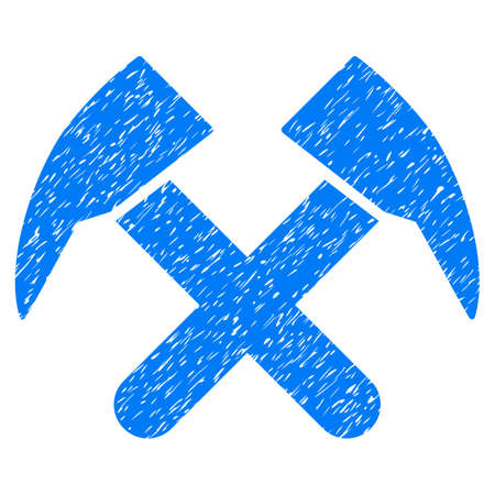 vacancy: Grunge Job Hammers icon with grunge design and dust texture. Unclean vector blue pictogram for rubber seal stamp imitations and watermarks. Draft sign symbol. Illustration