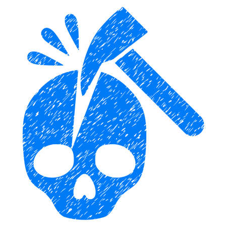 hazard: Grunge Break Skull icon with grunge design and dirty texture. Unclean raster blue pictogram for rubber seal stamp imitations and watermarks. Draft sticker symbol.