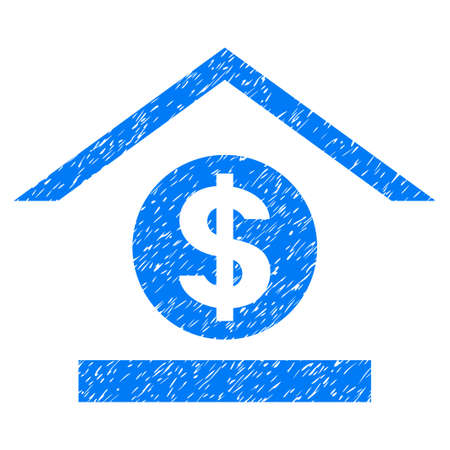 Grunge Dollar Bank icon with grunge design and unclean texture. Unclean vector blue pictogram for rubber seal stamp imitations and watermarks. Draft sticker symbol.