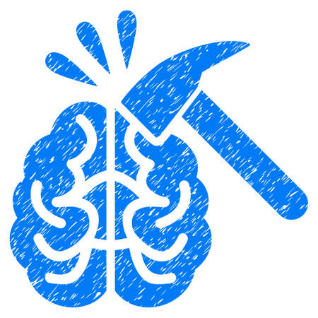 corrosion: Grunge Brain Impact icon with grunge design and dirty texture. Unclean raster blue pictogram for rubber seal stamp imitations and watermarks. Draft sticker symbol. Stock Photo