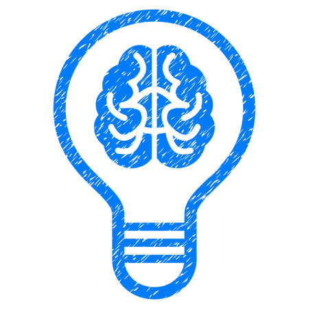 Grunge Brain Bulb icon with grunge design and dust texture. Unclean vector blue pictogram for rubber seal stamp imitations and watermarks. Draft sticker symbol. Ilustrace