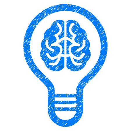 Grunge Brain Bulb icon with grunge design and unclean texture. Unclean vector blue pictogram for rubber seal stamp imitations and watermarks. Draft sign symbol.