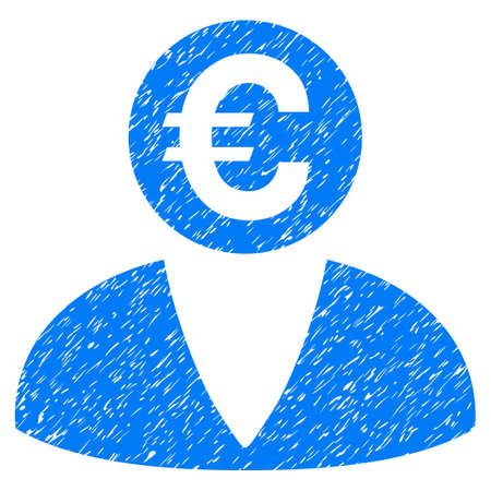 Grunge Euro Banker icon with grunge design and dirty texture. Unclean raster blue pictogram for rubber seal stamp imitations and watermarks. Draft sign symbol. Stock Photo