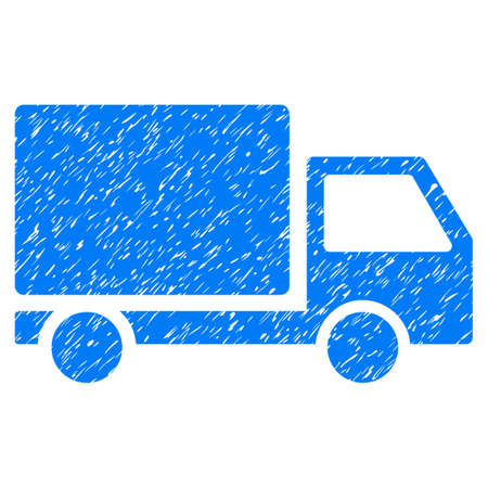 Grunge Delivery Lorry icon with grunge design and dust texture. Unclean vector blue pictogram for rubber seal stamp imitations and watermarks. Draft sticker symbol. Illustration